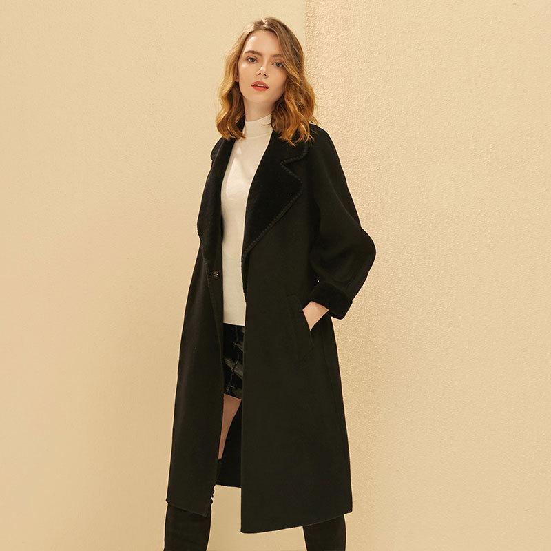 金菊 2019年秋冬新款修身纯色100纯羊毛双面呢女毛呢大衣--3色可选·黑色