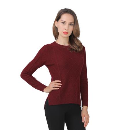 鳄鱼恤女士时尚菱格纹羊绒衫·夹花红