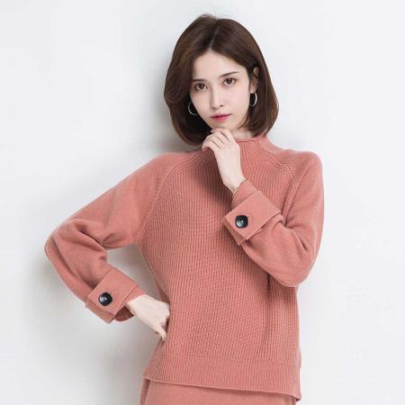 金菊 秋冬新款毛衣插肩袖纯色百搭女羊毛衫---4色可选·橡皮粉
