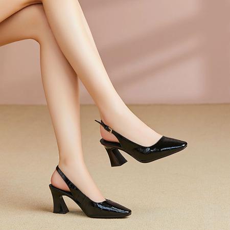 Garthphi漆皮高跟鞋女单鞋包头凉鞋女f7866·黑色