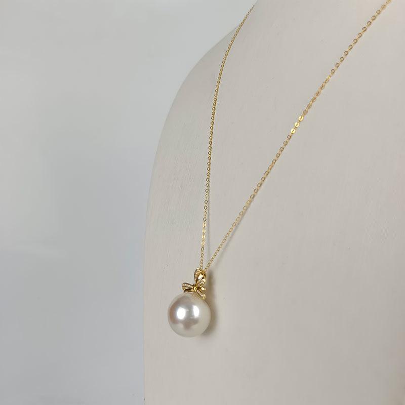 岛上明珠 海水强光澳白珍珠18k金吊坠蝴蝶结款15-16mm·澳白