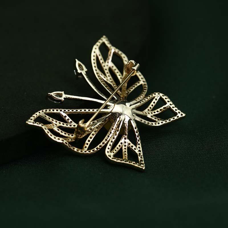慕古天然蜜蜡意大利镀金工艺设计款胸针(不褪色)·蝴蝶