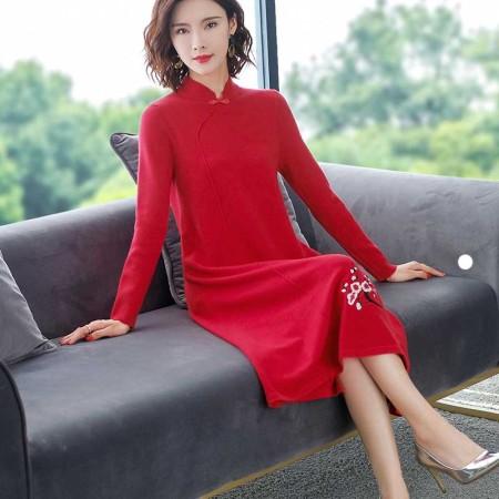 2019新款针织刺绣改良旗袍·红色下花--复古潮流!古典韵味!