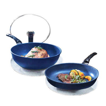 韩库韩国进口蓝宝石无烟不粘炒锅煎锅两件套装电磁炉通用·宝石蓝