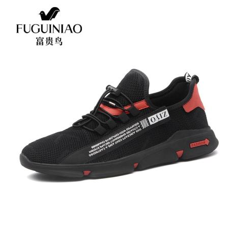 富贵鸟男鞋春季新款运动舒适跑步鞋拼色时尚百搭透气网布鞋A881158E·黑色