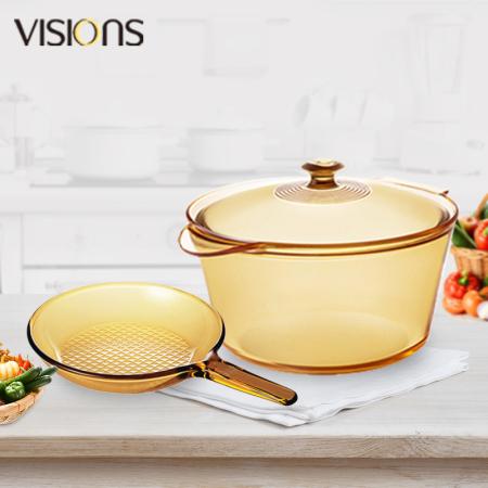 康宁(VISIONS)晶彩透明锅2个(双耳5.5L+单柄玻璃煎锅)