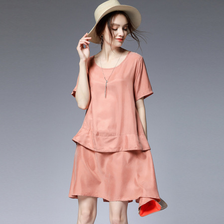 2019夏季瑅艾大码时尚宽松遮肉铜氨丝连衣裙(三色可选)·粉色