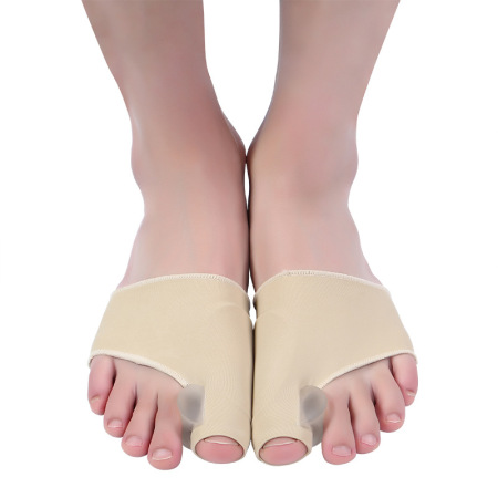 拇外翻加胶 大脚骨矫正器弹性莱卡布硅胶脚趾分离器·杏色