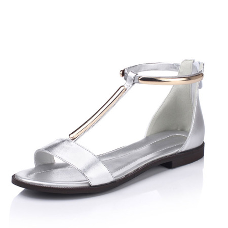 Garthphil 真皮韩版大码平底凉鞋女l008601-2883·银色·银色
