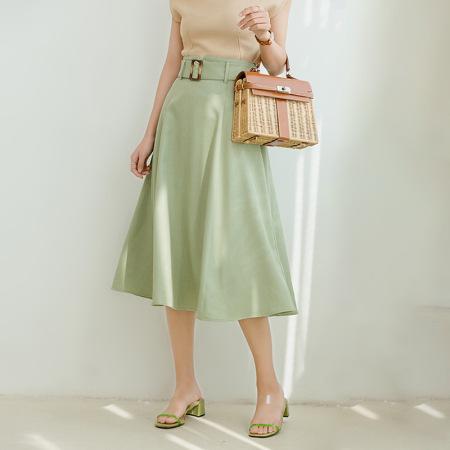 花雨韩版气质宽松显瘦遮胯中长款a字裙·绿色