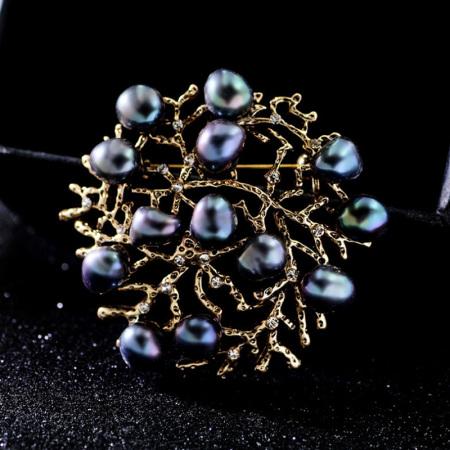 温书院不规则天然淡水珍珠镂空珊瑚胸针别针X540·古金灰