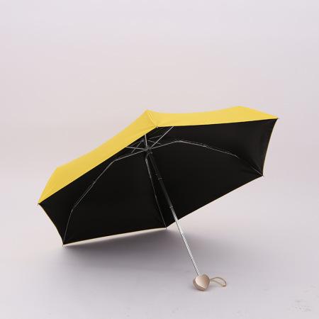 泳伶爱心手柄五折太阳伞·黄色