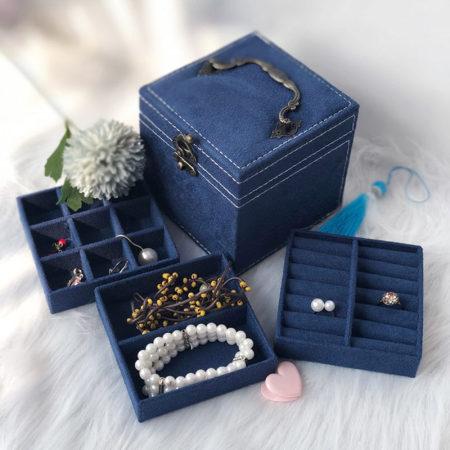 迈可维宫殿绒布三层首饰收纳盒·藏青色