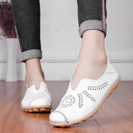 牛皮春秋款舒适豆豆鞋·白色
