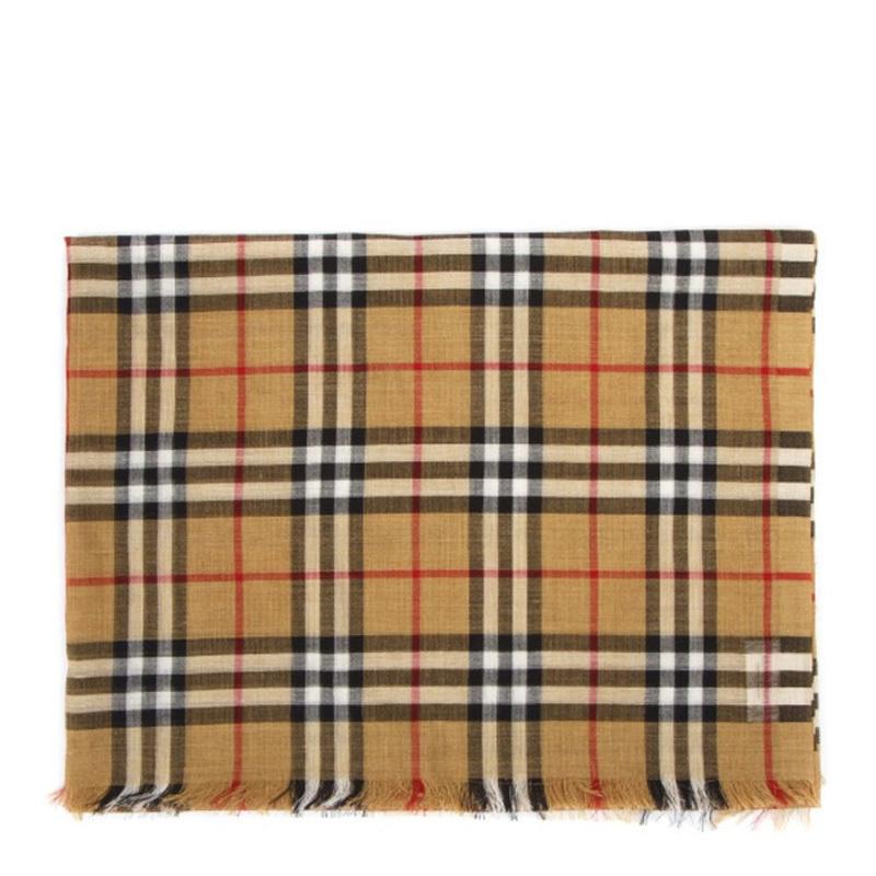 Burberry 巴宝莉  女士黄色格子围巾·黄色1181801184631