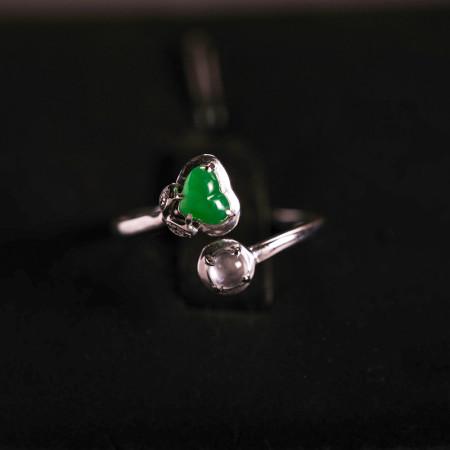 缔梵珠宝 18K金正阳绿缅甸老坑A翡翠 戒指·正阳绿翡翠
