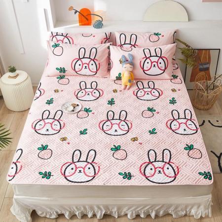 一梦全棉绗缝床护垫·大眼兔  粉