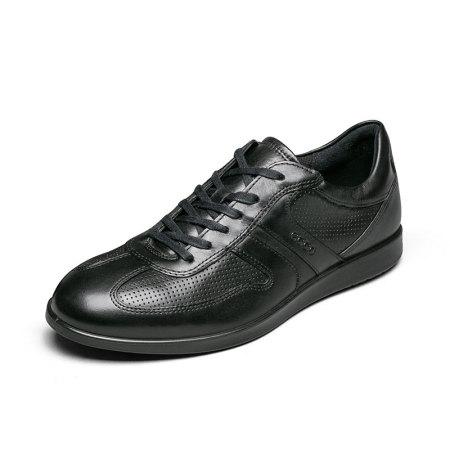 ECCO爱步男鞋2019春季新款休闲个性透气皮鞋·630764黑色
