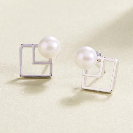灵杉新款顺心淡水珍珠纯银耳钉耳饰简约正品耳环饰品女
