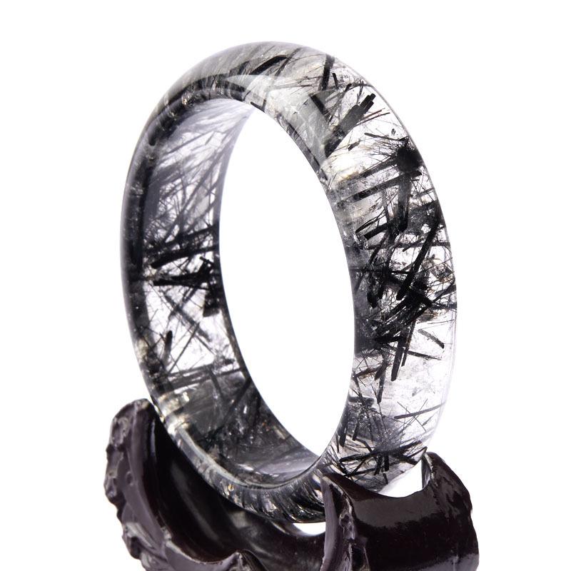 老冯记精选净体粗发黑发晶手镯9  圈口约:60.6mm