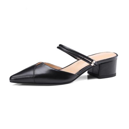 Naiyee奈绮儿 牛皮两穿凉鞋穆勒鞋粗跟低跟凉拖鞋女鞋·MK-1807-黑色
