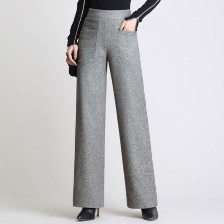 絮笈 人字纹毛呢直筒裤·灰色