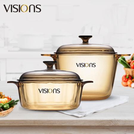 康宁(VISIONS)晶彩透明锅2个(双耳2.25L+双耳3.5L)