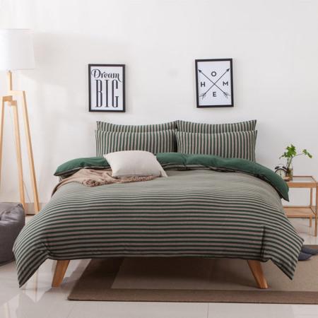 凯特之家天竺四件套床笠款1.5m/1.8m·墨绿中条  墨绿中条