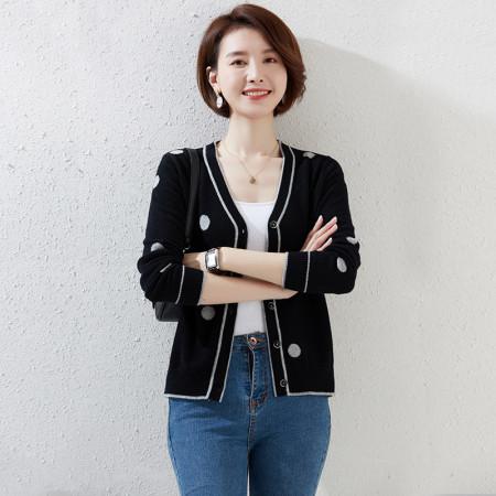 恒源祥女士100%羊毛衫YLL123•01M37018·黑色
