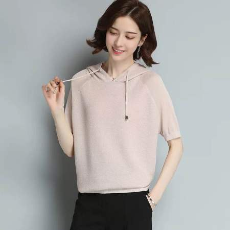 连帽短袖针织T恤衫·杏色-高挑显瘦!6色可选!