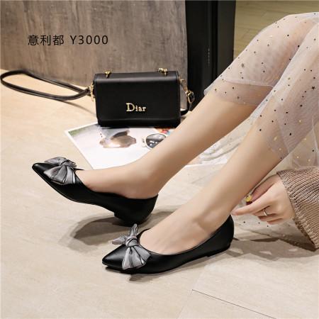 意利都经典蝴蝶结软底女鞋-黑色