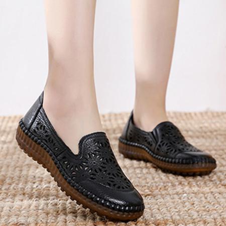 谜存 真皮雕花镂空时尚舒适一脚蹬凉鞋(2028-1)·黑色