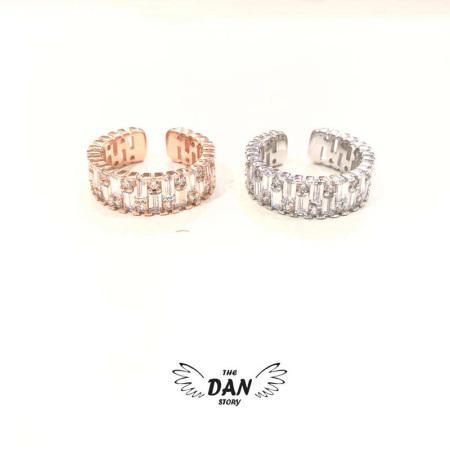 香港直邮 DAN 菱形镶钻戒指 银色款 Z4