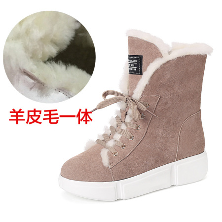 Garthphil 雪地靴女羊皮毛一体百搭韩版平底短靴l021308-4060·裸色羊毛