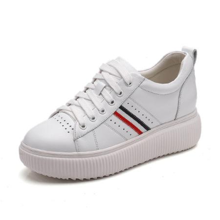 Garthphil 厚底真皮休闲百搭小白鞋女l000321-18154·白色·白色