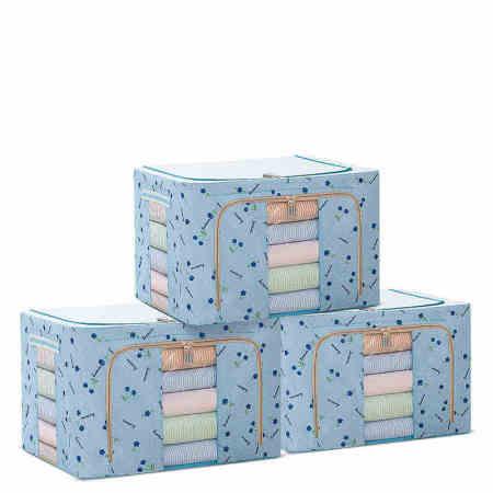 吉优百(Homebest) 大容量樱桃系列收纳箱100L3个装·浅蓝色樱桃
