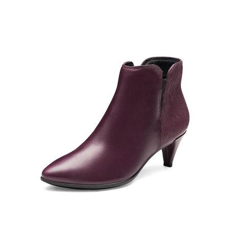 ECCO爱步明星同款高跟短靴女马毛拼接尖头踝靴女·263993红色