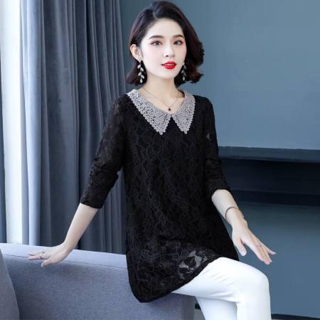 漫丽依刺绣翻领蕾丝上衣·黑色 16075#