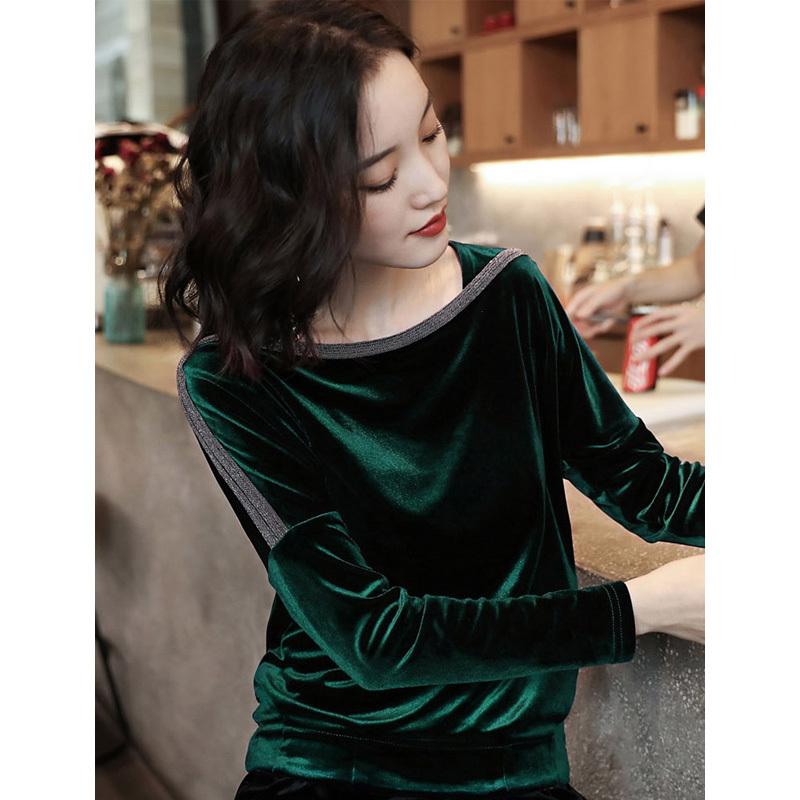 丁摩金丝绒衬衫秋冬打底长袖中年妈妈洋气小衫上衣160 161 176·176绿色
