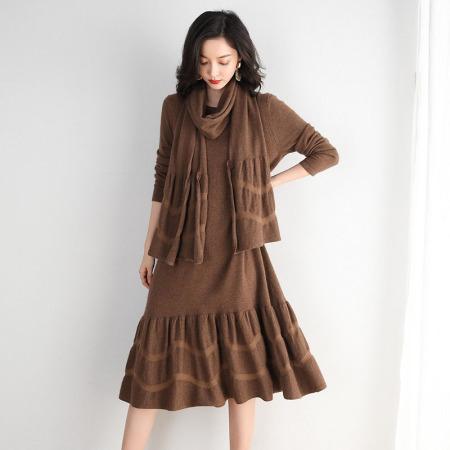 加送围巾!新款宽松花边连衣裙---舒适百搭!两色可选! 咖色  咖色