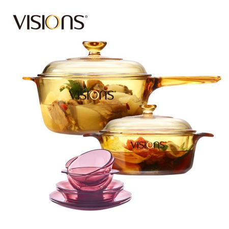康宁餐锅组合单柄2.5L+双耳1.25L+紫餐6件vsp25+vs12+cwp6·琥珀色