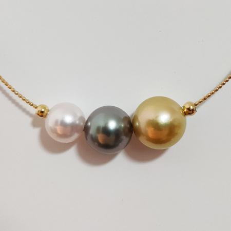 明益珠宝三彩海水珍珠配18K金日本进口项圈