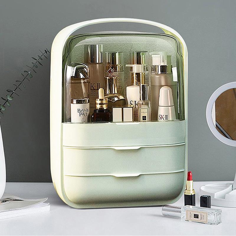 海兴网红化妆品收纳盒桌面防尘多功能大容量口红护肤品化妆盒收纳箱·实色抽屉