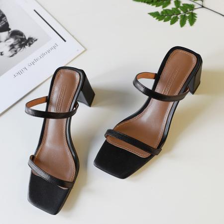Naiyee奈绮儿 羊翻皮一字带方头粗跟凉鞋女鞋子·XT-S312-黑色