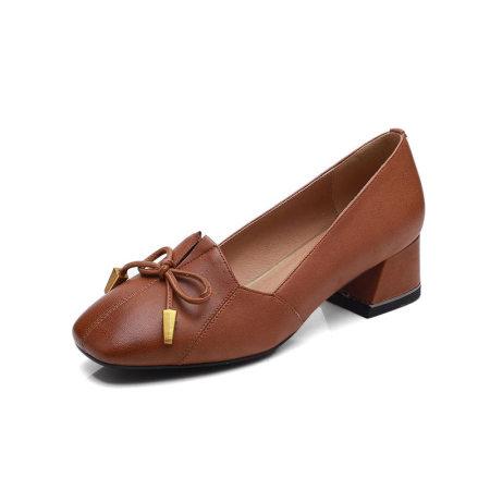 Garthphil 浅口方头粗跟复古中跟百搭真皮单鞋l006681-3840·深棕色