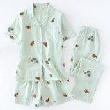 短袖+短裤(松果绿色)