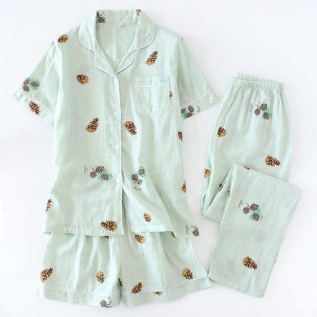 纱布睡衣套装·短袖+短裤(松果绿色)