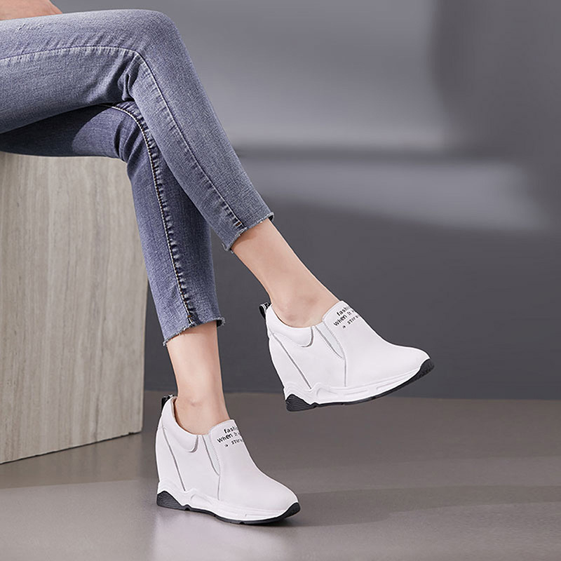 Garthphil 舒适小白鞋女坡跟真皮女鞋l2073·白色
