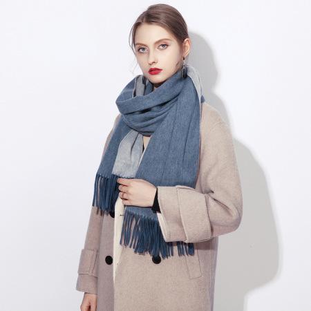上海故事 纯羊毛百搭英伦秋冬加厚双面披肩·灰蓝白色