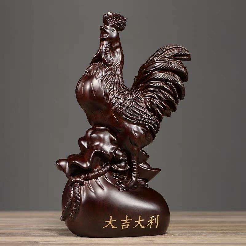 百年许氏 花梨木/黑檀公鸡大吉大利摆件·20cm